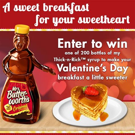 Valentine Sweepstakes - enter to win mrs butterworth s valentine day sweepstakes 200 winners thrifty