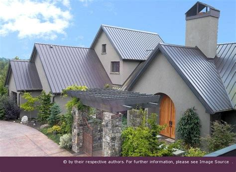 metal roof  stucco exterior paint gray roof pinning