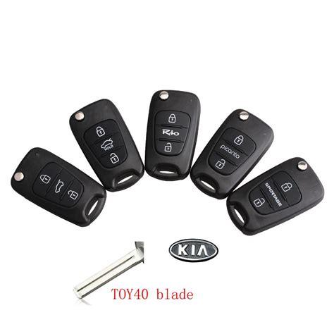 Sandal Remote Kunci Kunci Kasus pisau dipotong 3 tombol balik remote kunci shell untuk kia