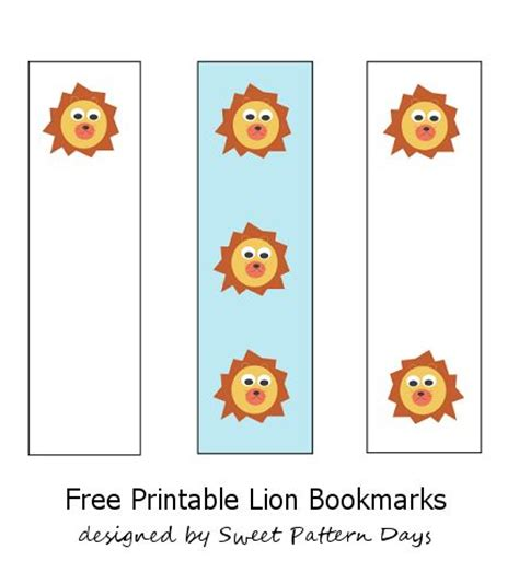 printable lion bookmarks cute printable lion bookmarks stationery printables