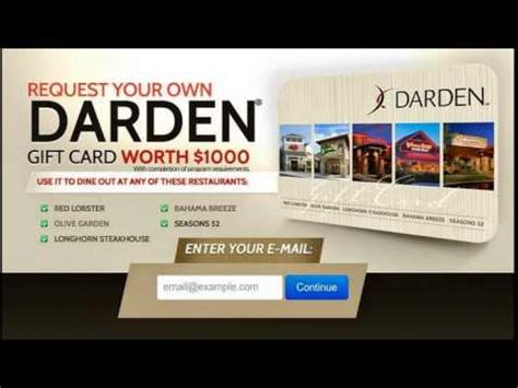 How To Get Free Restaurant Gift Cards - how to get free restaurant gift cards get a darden 1000 gift card youtube