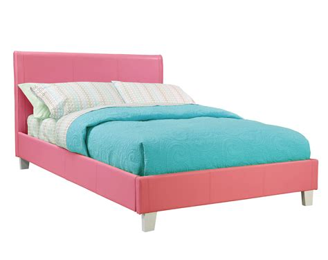 pink bed child s platform bed upholstered leather like fantasia