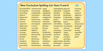 2014 curriculum spelling list years 5 and 6 word mat spell