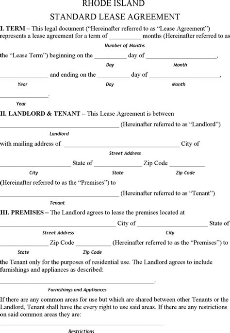 printable lease agreement rhode island standard rental application form gse bookbinder co