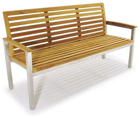 Vogue Stainless Steel And Teak 5ft Premium Bench Modern Modern Teak Outdoor Furniture