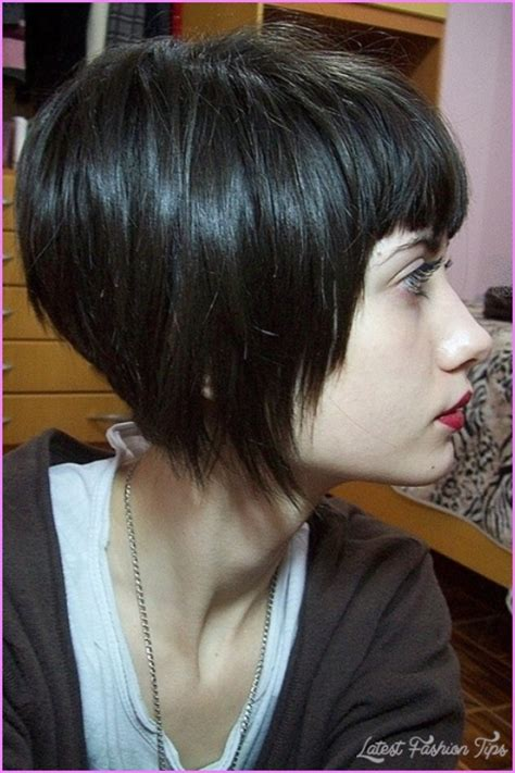 hairstyles blunt stacked angled bob haircut with bangs latest fashion tips
