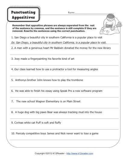 printable comma quiz punctuating appositives activities worksheets and free