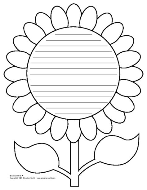 flower book report template flower shapebook lined template education world