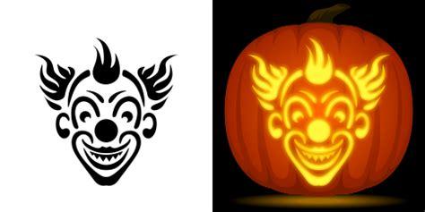evil clown pumpkin carving stencil free pdf pattern to