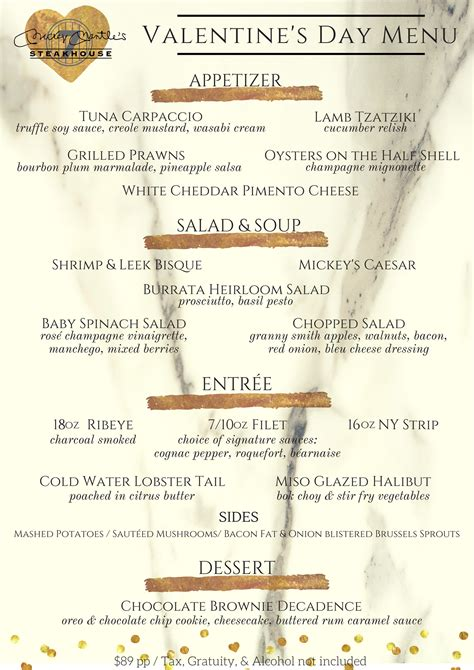 valentines day dinner menu s day lunch dinner mickey mantle s steakhouse