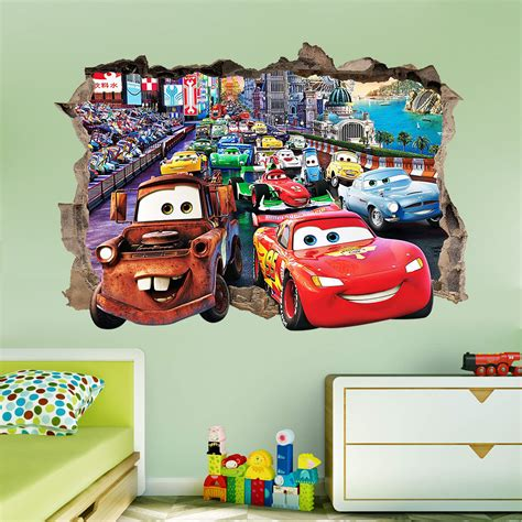 Disney Cars Decor by Disney Cars 3d Wall Sticker Smashed Bedroom Decor Vinyl