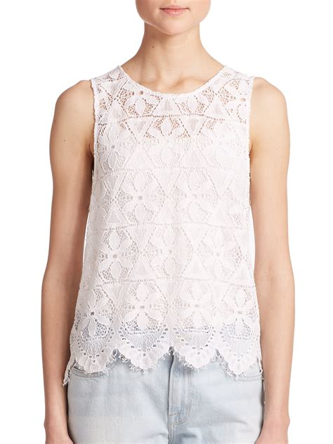 Barrow White Lace Tank frame le lace tank top in white lyst