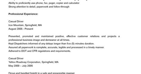 Casual Driver Sle Resume casual resume 28 images driver resumes casual driver resume sle 5 format of informal email