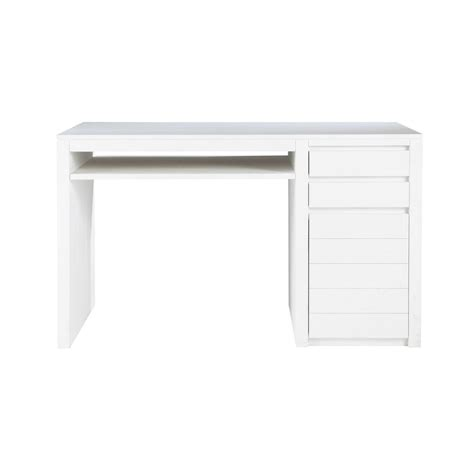 Solid Wood Desk In White W 130cm White Maisons Du Monde Solid Wood White Desk