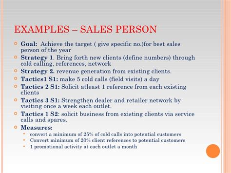 sales goals template goal setting