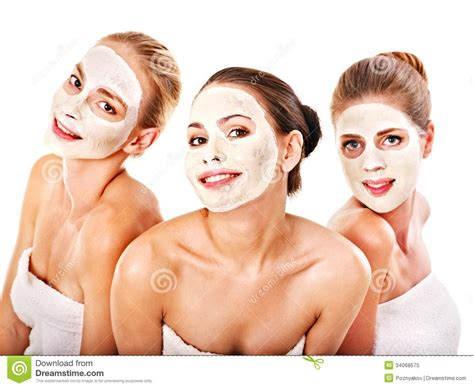 how can a woman get group women with facial mask royalty free stock photo