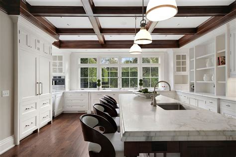 Coffered Ceiling Height 37 Gorgeous Kitchen Islands With Breakfast Bars Pictures