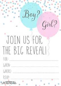 Baby gender reveal party invitations happiness is homemade
