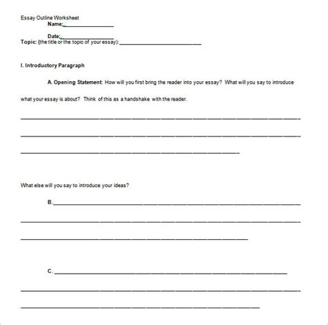 Informative Essay Template 10 printable essay outline templates free pdf word
