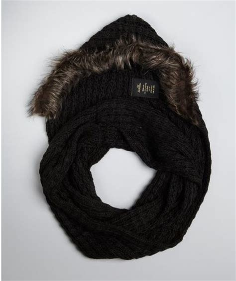 la fiorentina black knit and brown faux fur hooded