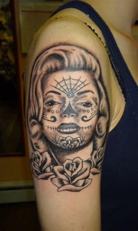 marilyn monroe day of the dead tattoo by me day of the dead marilyn tattoos