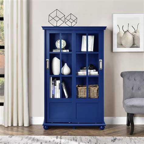 Altra Bookcase With Sliding Glass Doors Altra Aaron Bookcase With Sliding Glass Doors In Navy Ebay