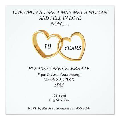 10th wedding anniversary card wording 10th year wedding anniversary invitation wedding