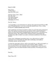 Cover Letter For Nursing School by New Grad Cover Letter Exle Nursing Cover