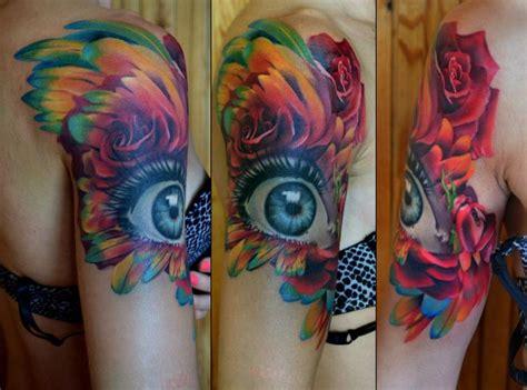 tattoo eye flower shoulder realistic flower eye tattoo by grimmy 3d tattoo