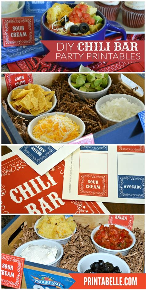 chili toppings bar chili bar sign and topping cards plus extras party printables games