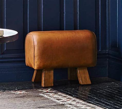 pottery barn ken fulk ken fulk leather pommel stool pottery barn