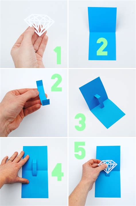 diy popup card template you re a gem pop up card minieco