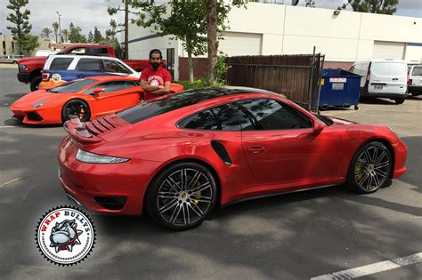 Wall Stickers Glow In The Dark porsche 911 turbo wrapped in 3m gloss dragon red car wrap