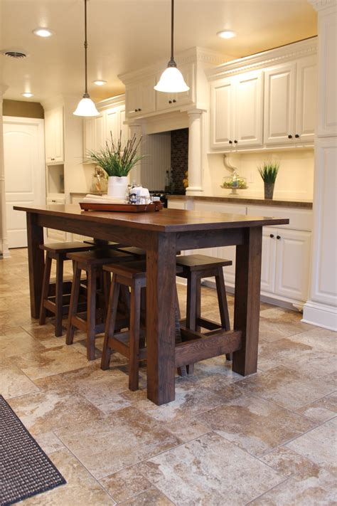 island kitchen tables rustic farmhouse bar island table with 6 barstools