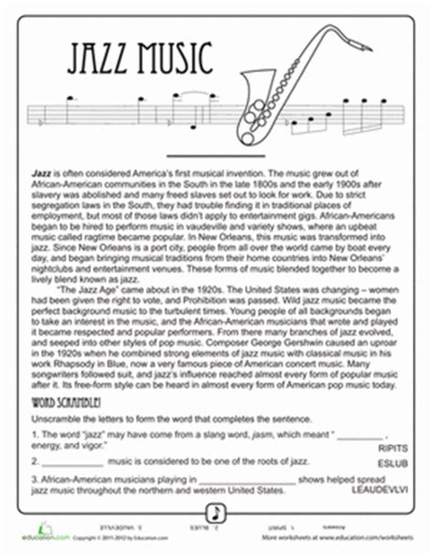 Free History Worksheets For Middle School by History Of Jazz Worksheet Education