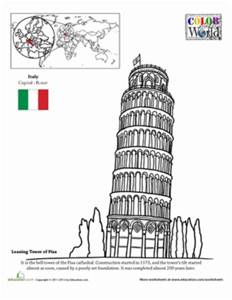 color the world the leaning tower of pisa worksheet