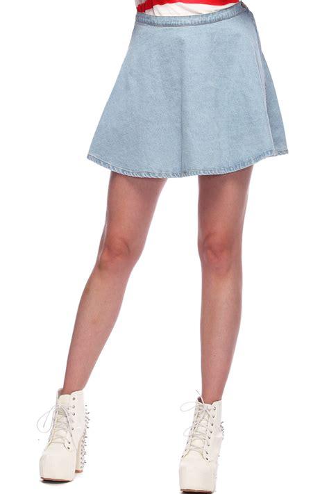 romwe high waist light blue denim skirt the