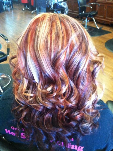 purple shoo for purple highlights copper blonde and purple hair nails and hair pinterest