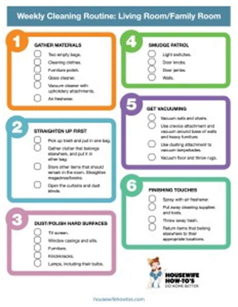 Living Room Routine Steps Weekly Cleaning Checklist For Living Room Printable