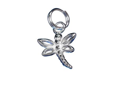 sterling silver 10mm dragonfly charm with split ring