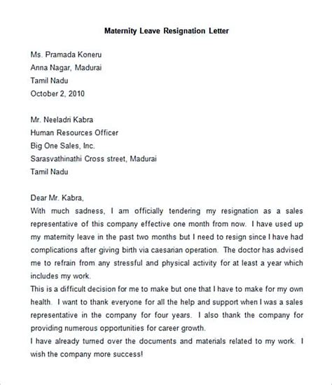 Acknowledgement Letter For Maternity Leave 30 letter of resignation template free