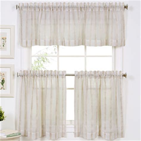 Linen Stripe Rod Pocket Window Treatments Linen Kitchen Curtains