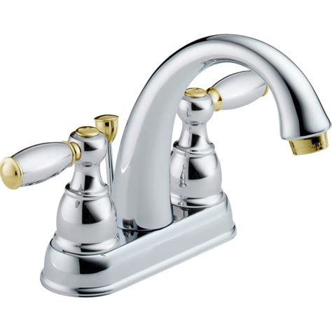 Chrome And Brass Bathroom Fixtures Shop Delta Traditional Chrome Brass 2 Handle 4 In Centerset Watersense Bathroom Faucet Drain