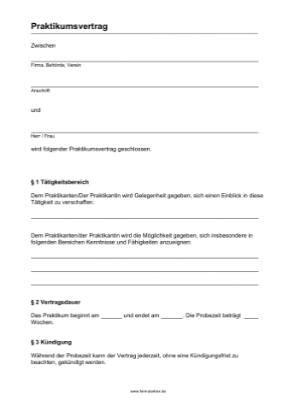 praktikumsvertrag  vorlage muster zum ausdrucken