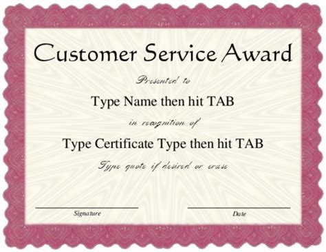 service award certificate templates 8 best images of customer service recognition certificate
