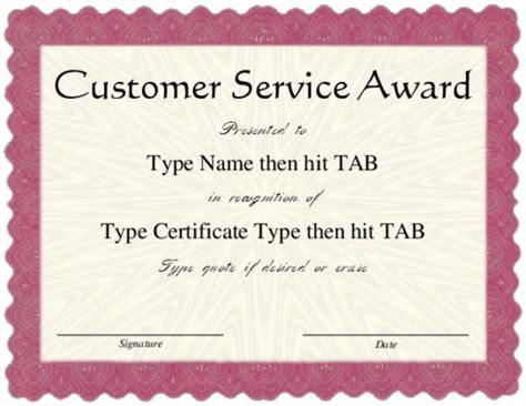 Award Certificate Templates Customer Service Award Template