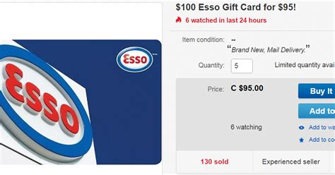 Esso Gift Card - canadian rewards ebay 100 esso gift card for 95