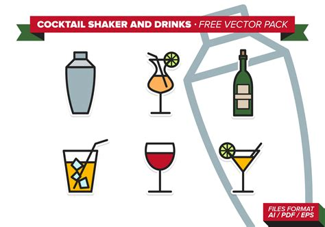 cocktail shaker vector cocktail shaker and drinks free vector pack