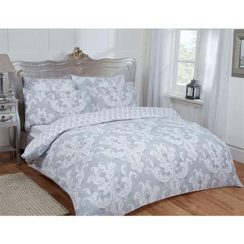 damask double duvet set twin grey bedding bm