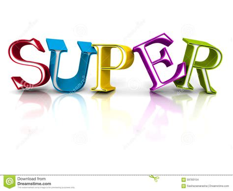 super colorful colorful super word letters on white background stock photo image of render price 59783154